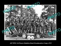 OLD LARGE HISTORIC PHOTO OF WWI AUSTRALIAN MILITARY 3rd BATTALION BAND c1915