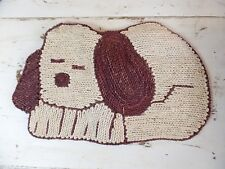 Sleeping Puppy Braided Grass Rug Dog Tan and Brown