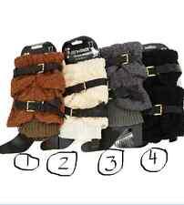 Ladies White Legwarmer Boot Cuff w Faux Fur Top & Belt # 2