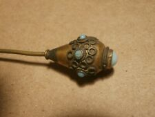 Vintage Stick Hat Pin Hatpin Baby Blue Stones - Brass