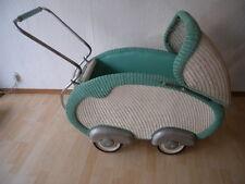 Alter Nostalgischer XXL Korb Kinderwagen Puppenwagen 50er Jahre in mintgrün