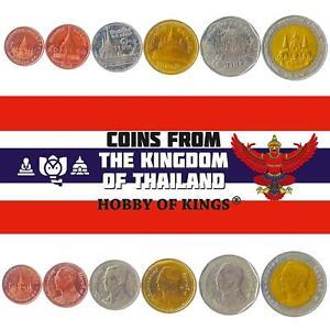 Set 6 Coins Thailand 25 50 Satang 1 2 5 10 Baht 2008 - 2017