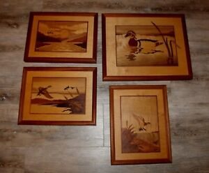 Lot of 4 Hudson River Valley Art Wood Inlay Ducks