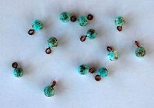 VINTAGE 12 ANTIQUE MOTTLED GLASS TINY BUTTONS BEAD BALLS 5mm TURQUOISE MATRIX