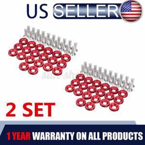 40pcs Red Billet Aluminum Fender Bumper Washer Bolt Engine Bay Screw Kit Set