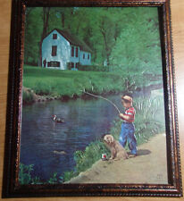 "1950'S 8 X 10 FRAMED BOY AND HIS DOG FISHING ""PATIENT PALS FOR THE LAKE COTTAGE"