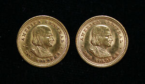 (2) 1928 REPUBLIC de COSTA RICA DOS COLONES GOLD COINS - EX JEWELRY