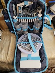 Apollo Walker Picnic Backpack With Cutlery, 9in plates And 3 Glasses, more