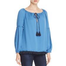 TORY BURCH Blue Silk Fringe Long Sleeves SYLVIE TUNIC Blouse Size 8 NWT
