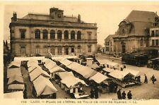 Carte LAON Place de l'Hôtel de Ville un jour de Marché