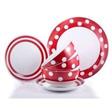 Sabichi  Red & White 12 Piece Porcelain Dinner Set