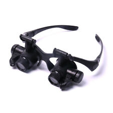 20X Double Eye Jewelry Watch Repair Magnifier Loupe Glasses+ LED Light 2 Lens