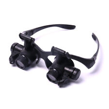 Double Eye Jewelry Watch Repair Magnifier Loupe Glasses With LED Light 2 Lens