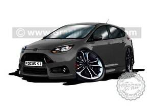 Focus ST3 Caricature Car Art Cartoon A4 Print in Stealth Grey Personalised Gift