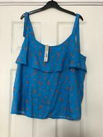 Redherryng Blue Flowers Shirt Size 16 Women Sleeveless Great Condition (F145)