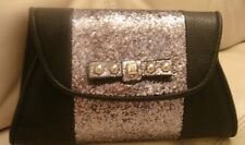 NWT JESSICA SIMPSON BLACK PURSE SILVER GLITTER BLING EVENING CHRISTMAS SPARKLE