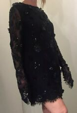 Auth CHRISTIAN DIOR Beaded Applique Lace Dress FR 42  ✨GORGEOUS