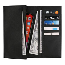 Men's Leather Bifold Long Wallet RFID Blocking Credit Cards Holder Purse Clutch
