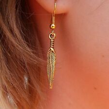Boho Coachella Trendy Golden Feather Earrings on Gold Plated French Hooks
