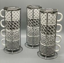 Espresso Cups Mugs MINI With Metal Stacking Rack Set Of 4 Farmhouse Inspired