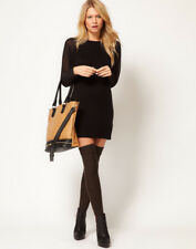 ASOS sheer long sleeve jumper dress - black UK 6