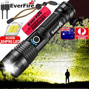 990000Lumens XHP90 Zoom Flashlight LED Rechargeable Torch Headlamp Work Light