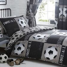 SHOOT FOOTBALL SOCCER SINGLE DUVET COVER SET BLACK GREY KIDS BOYS REVERSIBLE