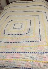 TWIN/ FULL CROCHETED COVERLET BEDSPREAD Ivory Blue Yellow Open Weave Cotton