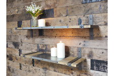 Set of 2 Urban Industrial Style Wooden Wall Shelf Units Metal Rustic Warehouse
