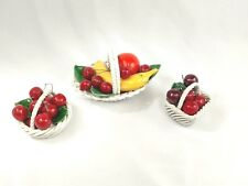 Set of 3 Vintage Capodimonte Porcelain Fruit Baskets Made in Italy