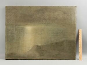 Antique THEODORE DABO French American Tonalist Atmospheric Seascape Oil Painting