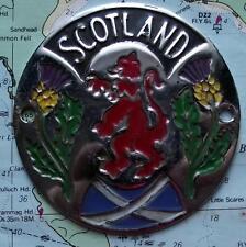 Car Mascot Badge : Scotland Lion Rampant  Thistle Saltire - Painted