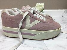Vintage 90s Vans Big V Old Skool Pink &White Leather Upper Platform sz 7.5 Rare