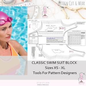 SWIM SUIT PATTERN BLOCK- STRETCH - LOW BACK SIZES XS TO XL SLOPER - DESIGNER