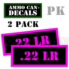 22 LR Ammo Ammo Decal Sticker bullet ARMY Gun Can Box safety Hunting 2 pack PK