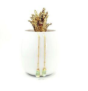 Green Teardrop Threader Earrings- Teardrop crystal, 14k gold filled