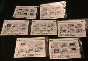 200 Years Of The American Presidency 7 Mint Postage Stamp Sheets Turks & Caicos