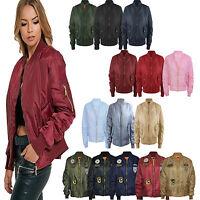 New Ladies Womens Girls Military MA1 Padded Stylish Vintage Zip Up Bomber Jacket