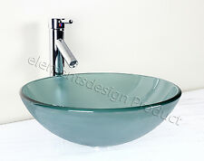 Bathroom Frosted Green Glass Vessel Vanity Sink Chrome Faucet+ drain 12.2Fc1