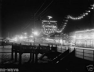 1900 Photo of Atlantic City, New Jersey Boardwalk at Night-Gillette Razor Sign