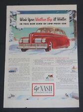 Original 1941 Print Ad GO NASH Wink Weather Eye at Winter Auto