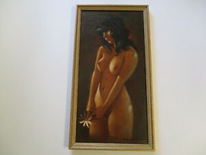 RARE CHUCK OBERSTEIN NUDE OIL PAINTING PRETTY RETRO FEMALE WOMAN MODEL LISTED