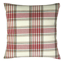 Tartan Red, Cream & Brown 18 inch Cushion Cover Soft Woven Tweed Check Fabric