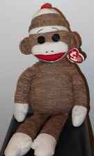 NMT* Ty Beanie Buddy - SOCKS the Sock Monkey (Brown)(Medium ~ 16 inch) ~ MWNMT