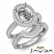 Diamond Oval Wedding Band Semi Mount Ring Platinum 950 Bridal Setting 1.2Ct
