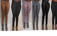 Women floral animal paisley stripe polka dot print skinny denim jeans size 6-20