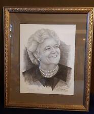 BARBARA BUSH Black & White PORTRAIT Signed BY ARTIST MICHAEL G REAGAN #277/500