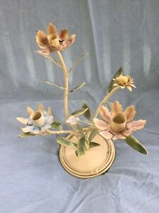 Antique Toleware Flowers  Candle Holder Candelabra Vintage