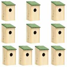 vidaXl 10x Solid Firwood Bird House Wooden Bird Nesting Garden Outdoor Patio