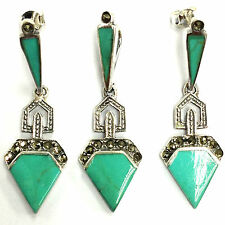 GREAT ART DECO STYLE TURQUOISE MARCASITE SET PENDANT EARRING 925 STERLING SILVER